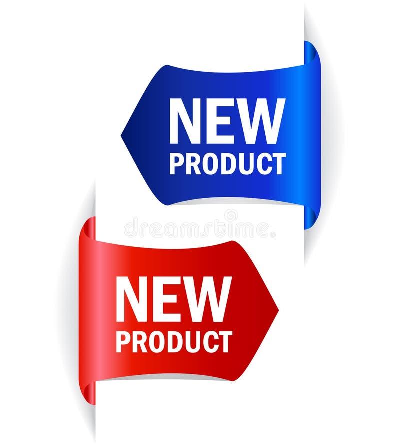 Ny produktvektoretiketter stock illustrationer
