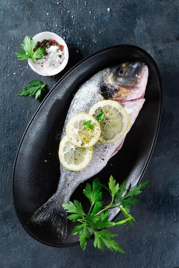 Ny rå fisk för havsbraxen som dekoreras med citronskivor, örter och persilja på mörk bakgrund Sunt matbegrepp, bästa sikt, kopia arkivbilder