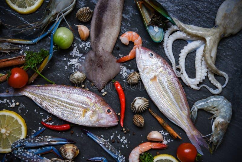 Ny rå skaldjur med örter och kryddacitronen på mörk bakgrund/den havs- plattan med skaldjurräkaräkor fångar krabbor skalet fotografering för bildbyråer