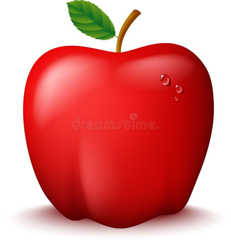 Ny röd Apple illustration stock illustrationer