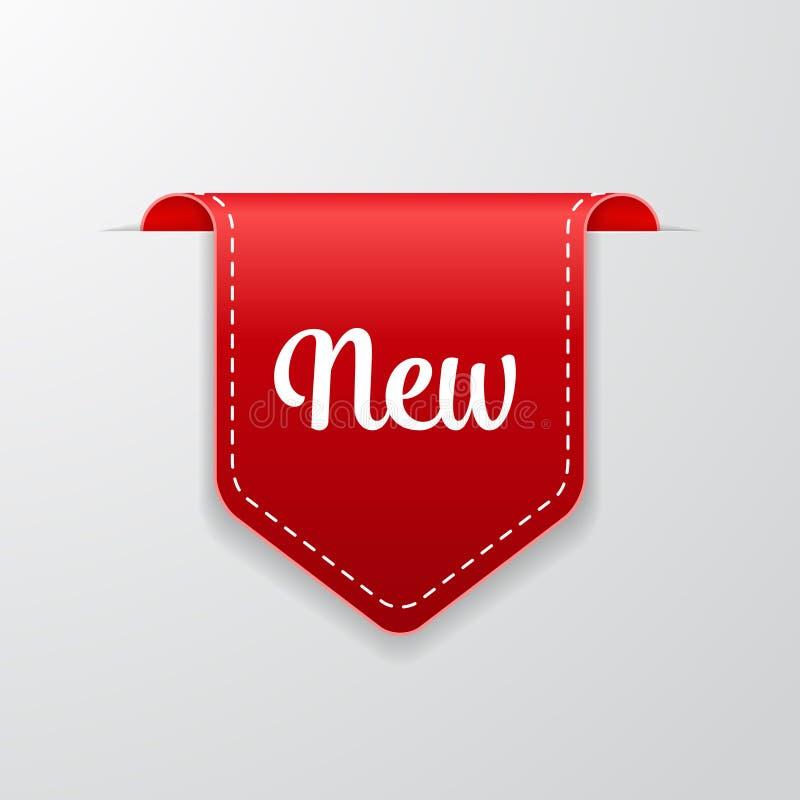Ny röd etikettsymbol vektor illustrationer