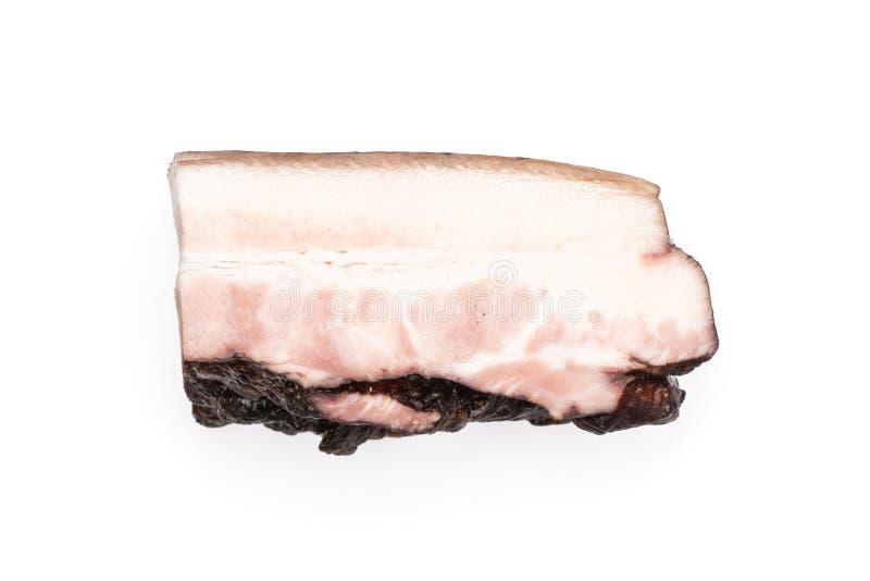 Ny rökt engelsk bacon som isoleras på vit royaltyfria foton