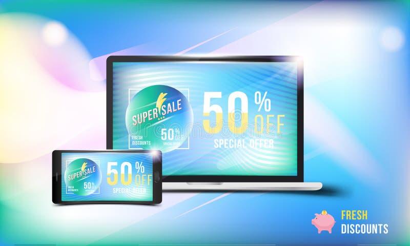 Ny rabatt för stort Sale 50 erbjudande Begrepp av advertizingen med en bärbar dator och en smartphone och ett baner med toppna ra royaltyfri illustrationer