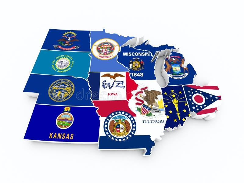 Ny region för översiktsUSA midwest stock illustrationer