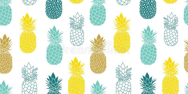 Ny repetition sömlösa Pattrern för vektor för blåttgulingananors i grå färg- och gulingfärger utmärkt för tyg och att förpacka stock illustrationer
