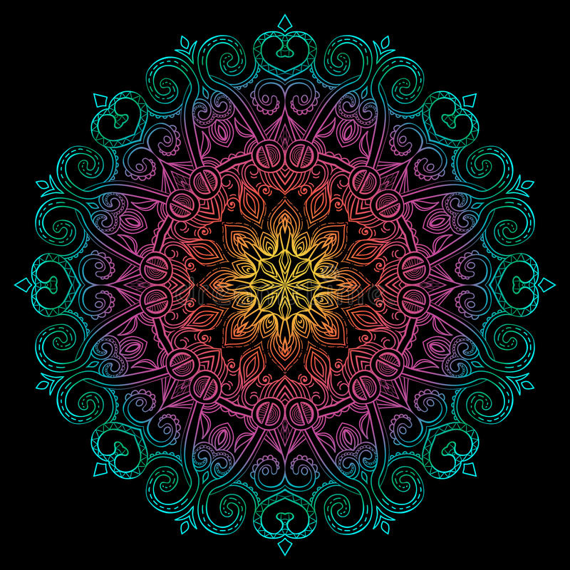 Ny runda Mandala-13 stock illustrationer