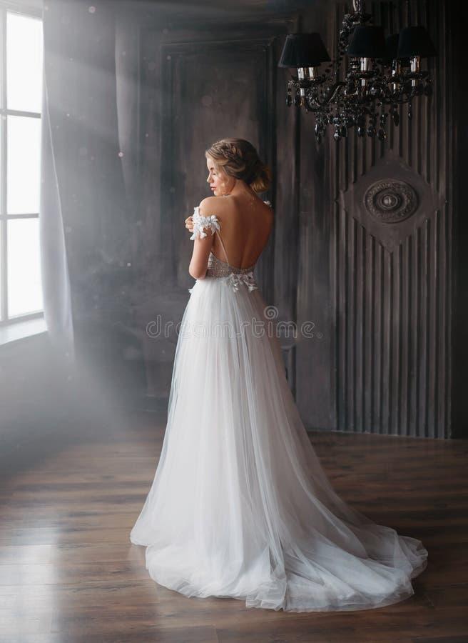 Ny saga om den Cinderella, söt och försiktig damen, i att förbluffa den underbara vita långa klänningen med öppen baksida och rem arkivbild