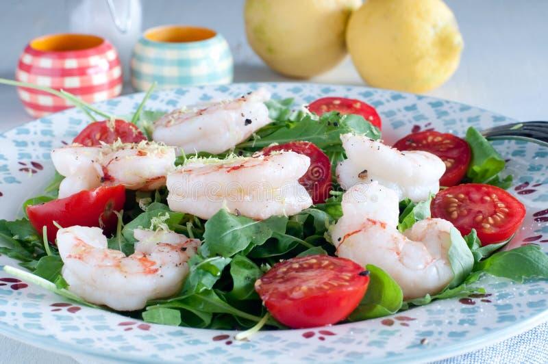 Ny sallad som består av raketsallad, tomater och svansar av sc arkivbild