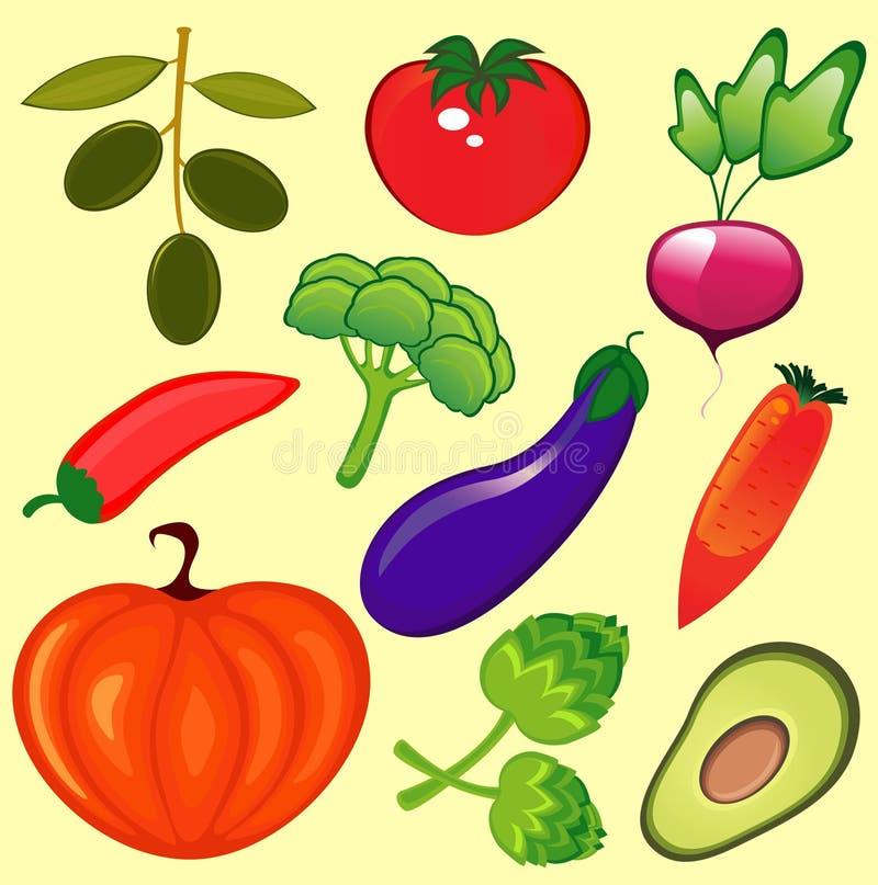 ny setgrönsak stock illustrationer
