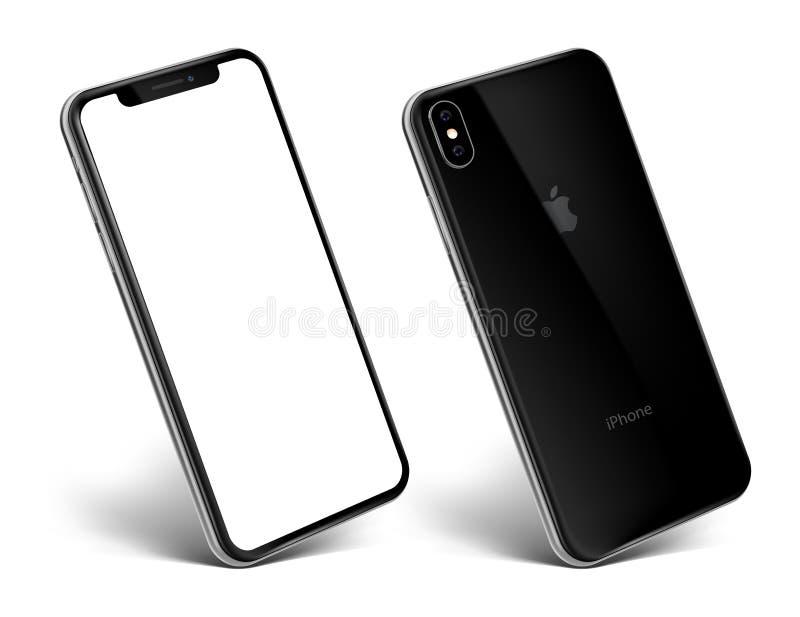 Ny sikt för iPhoneXs svart på en vinkel royaltyfria bilder