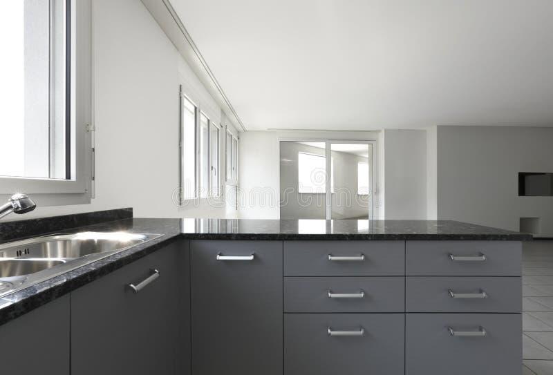 ny sikt för lägenhetkök royaltyfria foton