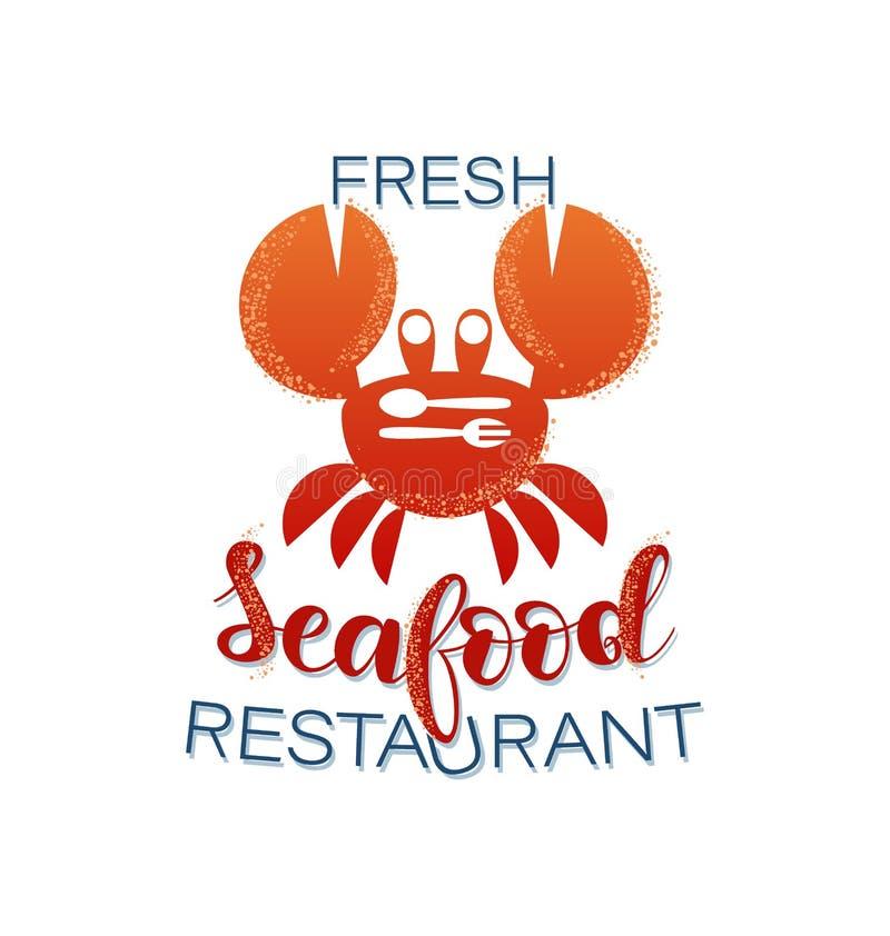 ny skaldjur Krabba panera kallat klippa restaurangen f?r fotoet f?r mrcajevcien f?r meat f?r logoen f?r festivalmatkupusijadaen s stock illustrationer