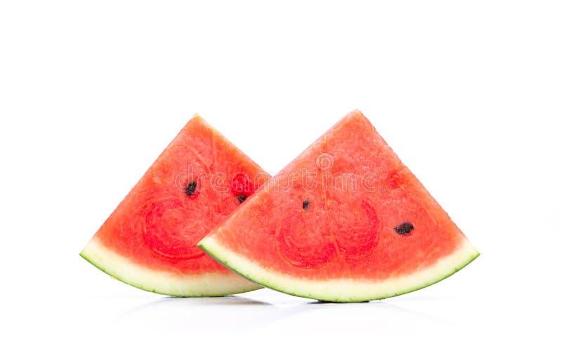 Ny skiva för nära övre vattenmelon som isoleras på vit bakgrund arkivfoton