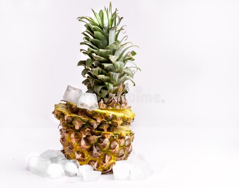 Ny skivad ananas med iskuben på vitt bakgrundskopieringsutrymme fotografering för bildbyråer