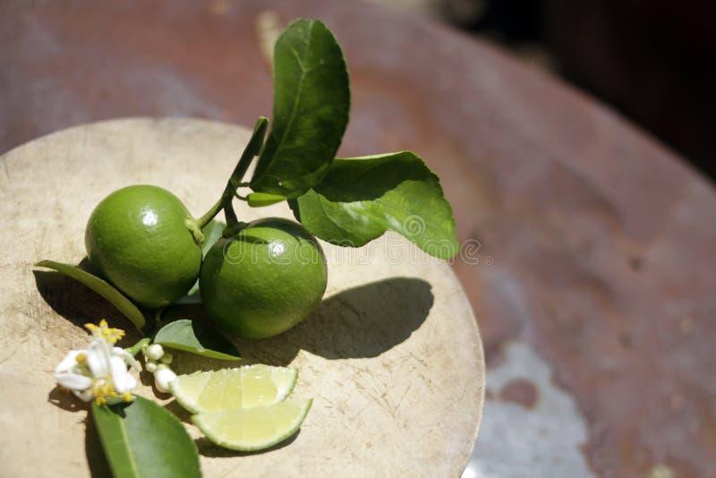 Ny skivad limefrukt och att salta p? tr?tabellen fotografering för bildbyråer