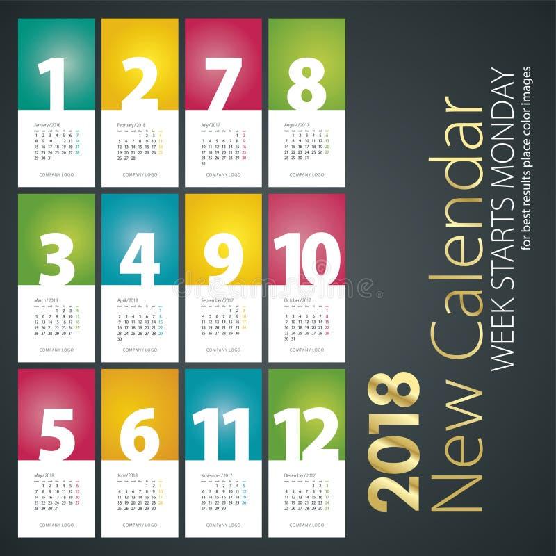 Ny skrivbordkalender för måndag för 2018 veckastarter bakgrund stående stock illustrationer