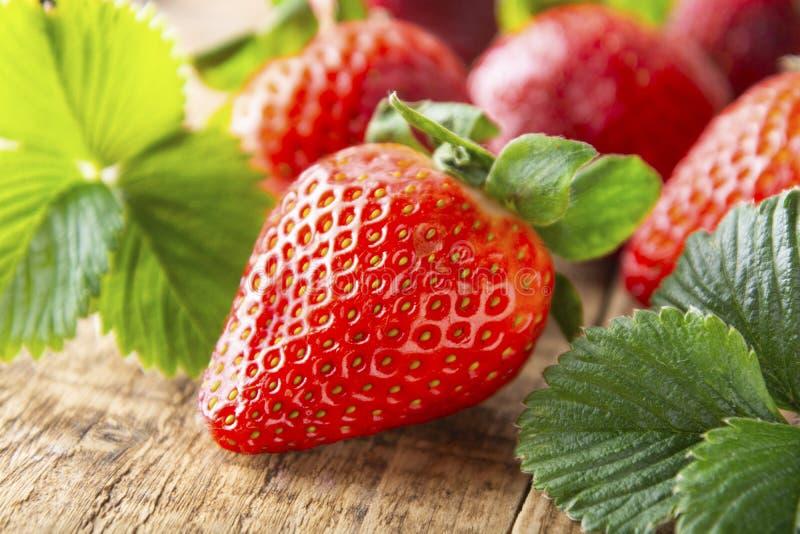 Ny smaklig sommarstrawberrie slut upp den mogna jordgubben på träbräde Ljus för sommardag royaltyfria foton