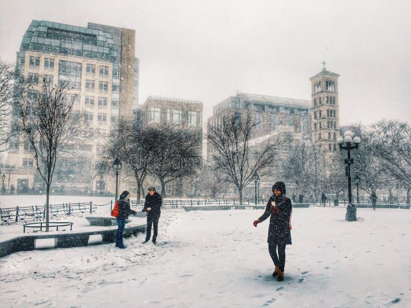 ny snowstorm york arkivbild