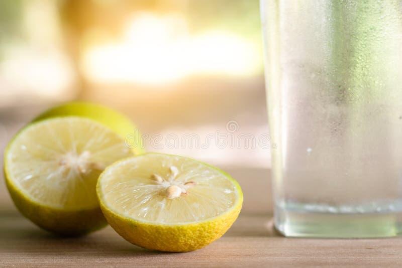 Ny sodavattencitron i ett exponeringsglas med citronskivor Sodavattencitronjuice fotografering för bildbyråer