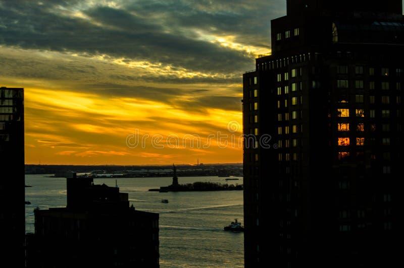 ny solnedgång york royaltyfri fotografi