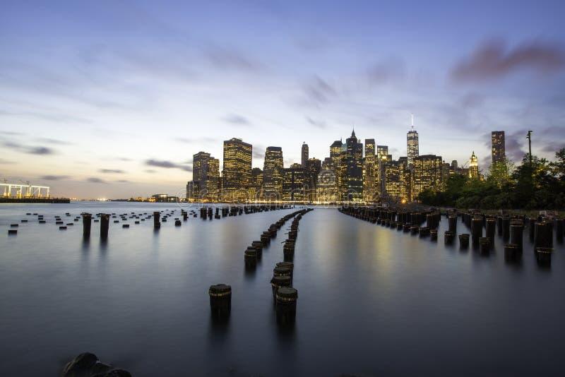 ny solnedgång york för stad royaltyfri bild