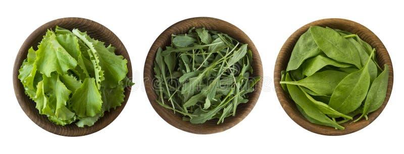 Ny spenat, rucola och grönsallat i träbunken som isoleras på vit bakgrund Top beskådar Grönsallat med kopieringsutrymme för text royaltyfri foto