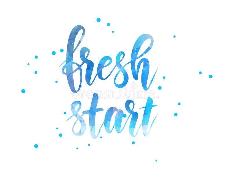 Ny start - motivational meddelande stock illustrationer