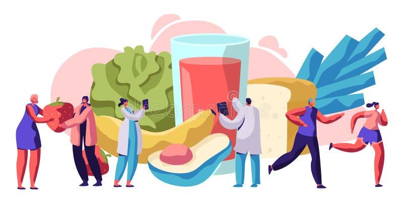 Ny sund design för mattypografibaner Organiskt mål för bantar vård- begrepp för sockersjuka Sallad- och fruktmeny för vegetarian stock illustrationer