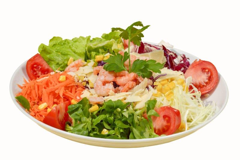 Ny sund klassisk Caesar sallad på plattan med räkor på vit bakgrund arkivfoton