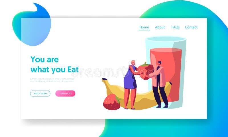 Ny sund sida för landning för frukost för jordgubbebananSmoothie Organisk mat för näringbegrepp Fruktmeny för vegetarian stock illustrationer
