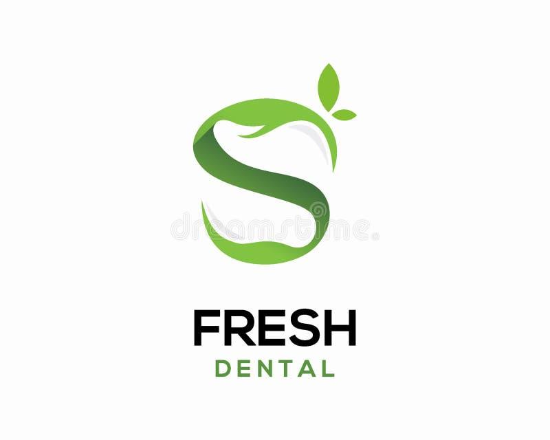 Ny tand- logodesignvektor, logomall för bokstav s, tand- logodesignmall royaltyfri illustrationer
