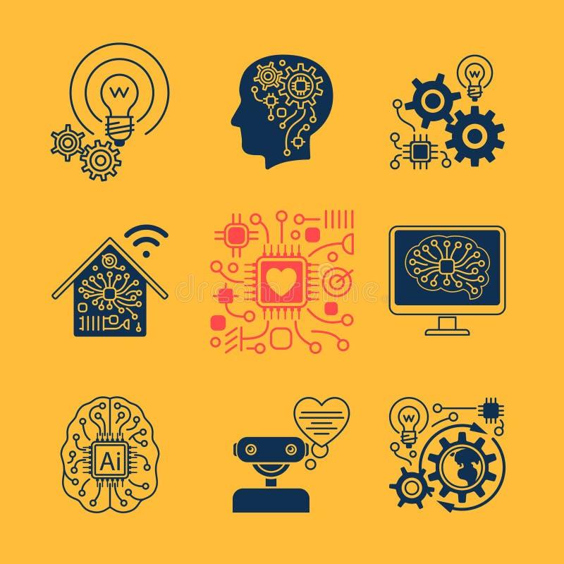 Ny tekniksymboler stock illustrationer