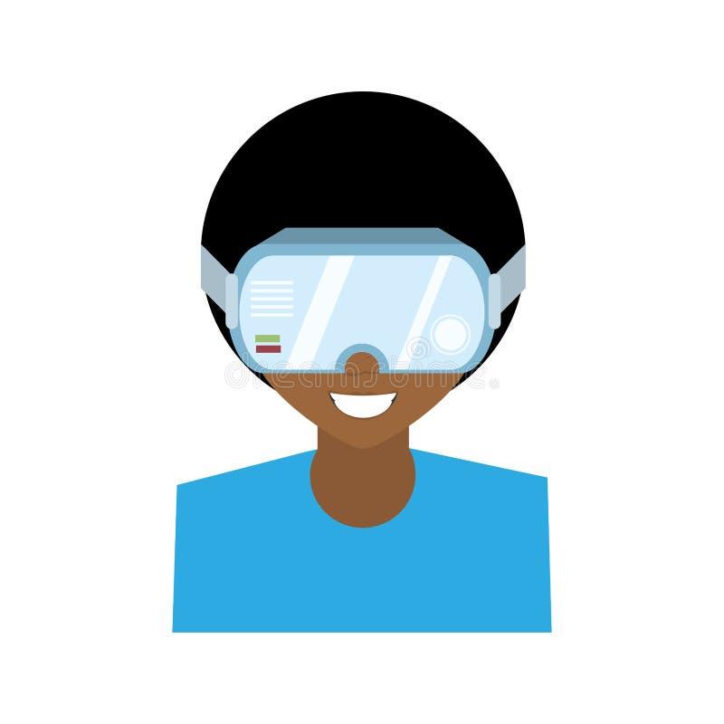 ny teknologi för exponeringsglas för teckenmanvirtuell verklighet stock illustrationer