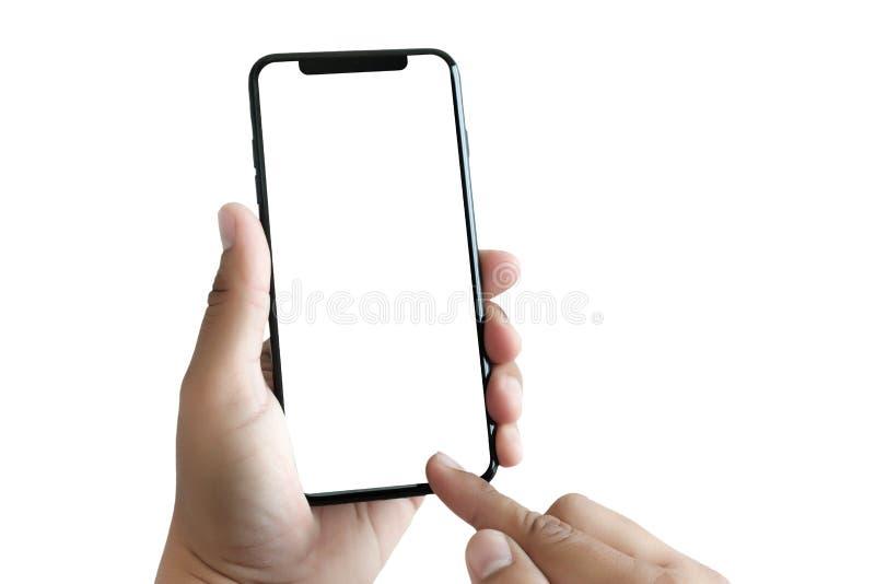 ny telefonteknologismartphone med den tomma skärmen och modern fra royaltyfri foto