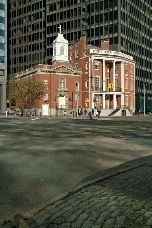 ny tillståndsgata york för kyrklig stad fotografering för bildbyråer