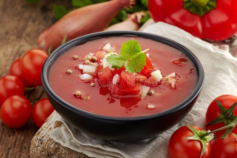 Ny tomatsoppa Gazpacho arkivbilder