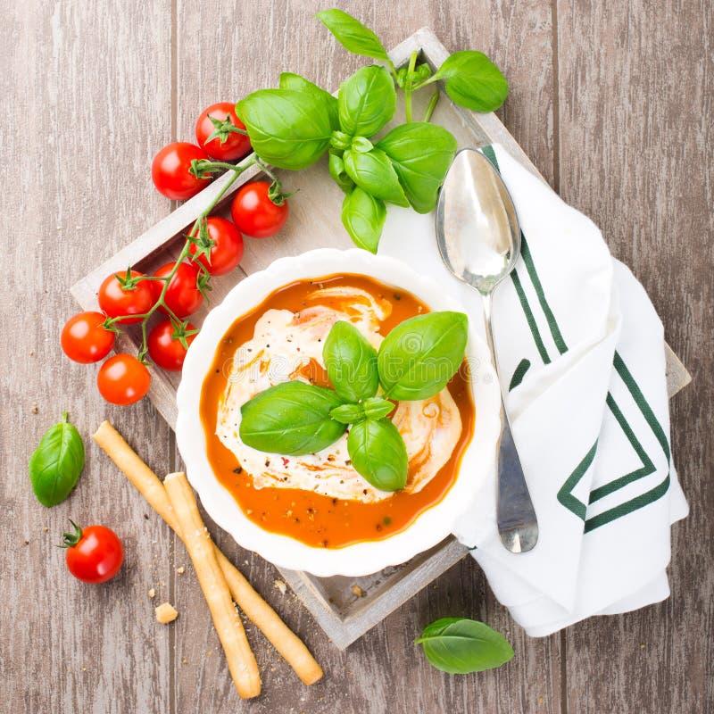 Ny tomatsoppa med basilika och kräm arkivfoton