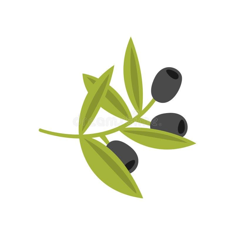 Ny trädfilial med den primitiva tecknad filmsymbolen för oliv, del av pizzakaféserie av Clipart illustrationer royaltyfri illustrationer