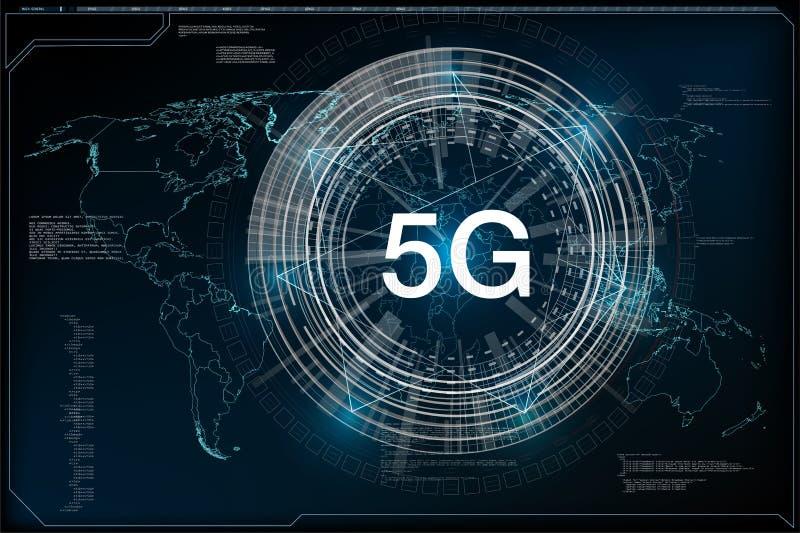 ny trådlös Wi-fi för internet 5G anslutning H?g hastighet f?r globalt n?tverk stock illustrationer