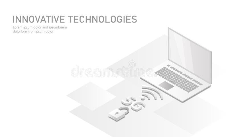 ny trådlös wifianslutning för internet 5G Den plana bärbar datormobila enheten isometrisk vit ren matt 3d framför globalt nätverk royaltyfri illustrationer