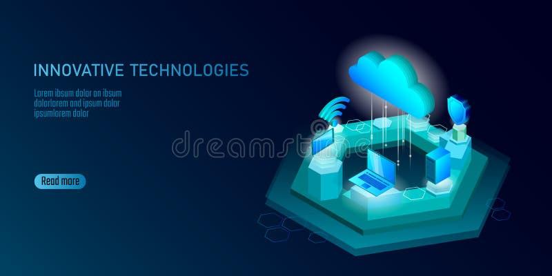 ny trådlös wifianslutning för internet 5G Sänker isometriska blått 3d för bärbar datormobila enheten Hög hastighet för globalt nä royaltyfri illustrationer