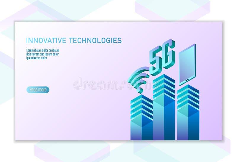 ny trådlös wifianslutning för internet 5G Sänker isometriska blått 3d för den Smartphone mobila enheten Hög hastighet för globalt royaltyfri illustrationer