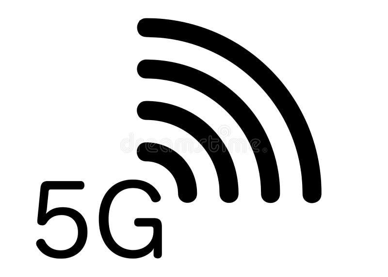 ny trådlös wifianslutning för internet 5G - symbol för nätverk för ny generation för G 5 mobil, isolerad eller vit bakgrund för v vektor illustrationer