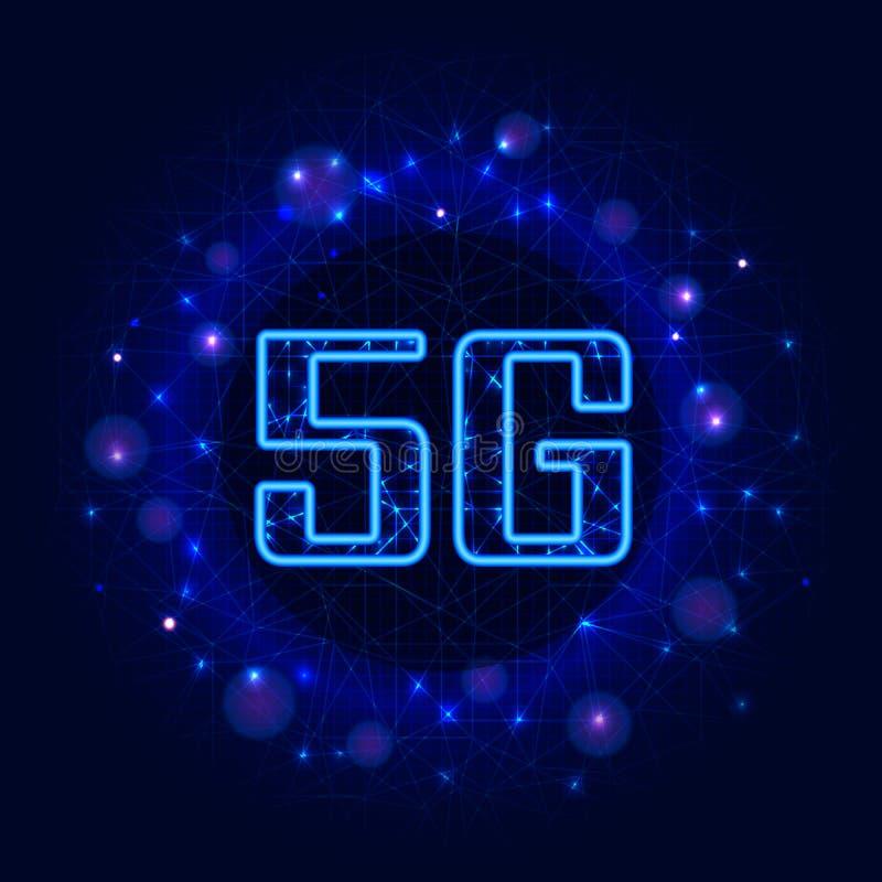 ny tr?dl?s wifianslutning f?r internet 5G Digitala data på abstrakt blå polygonal bakgrund Modern mobil nätverk och internet vektor illustrationer
