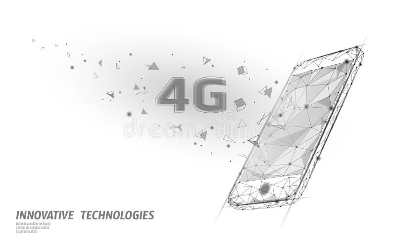ny tr?dl?s wifianslutning f?r internet 4G S?nker isometriska bl?tt 3d f?r den Smartphone mobila enheten H?g hastighet f?r globalt royaltyfri illustrationer