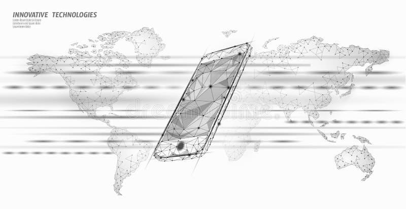 ny tr?dl?s wifianslutning f?r internet 4G Smartphone mobil enhetvärldskarta Snabb innovation för globalt nätverk royaltyfri illustrationer