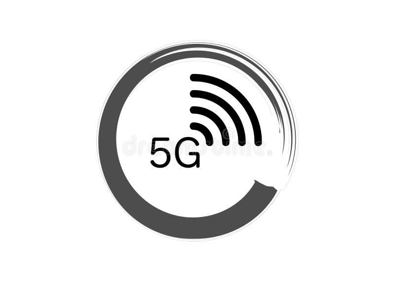 ny tr?dl?s wifianslutning f?r internet 5G - symbol f?r n?tverk f?r ny generation f?r G 5 mobil, isolerad eller vit bakgrund f?r v stock illustrationer