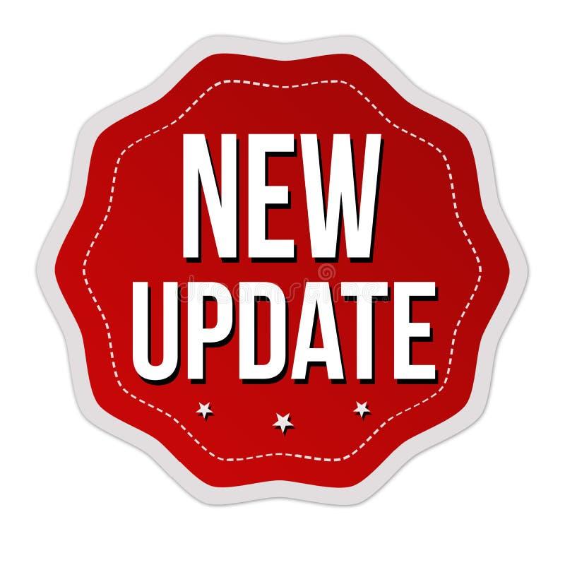 Ny uppdateringetikett eller klistermärke stock illustrationer