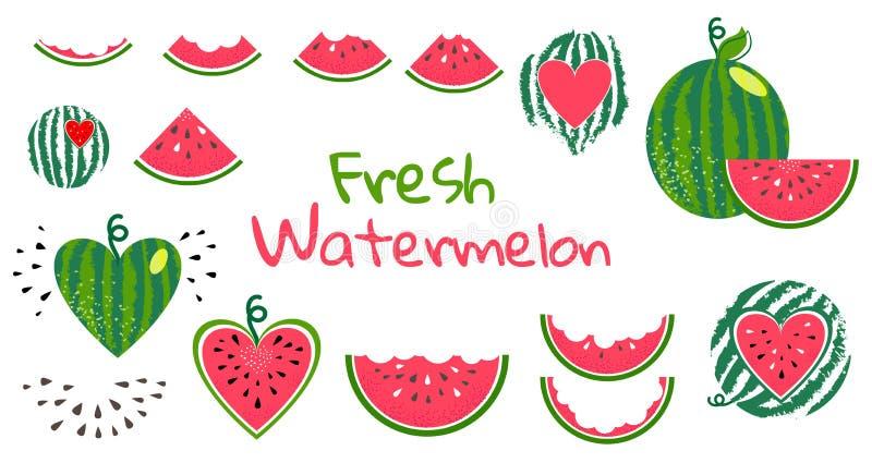 Ny uppsättning för vattenmelon stock illustrationer