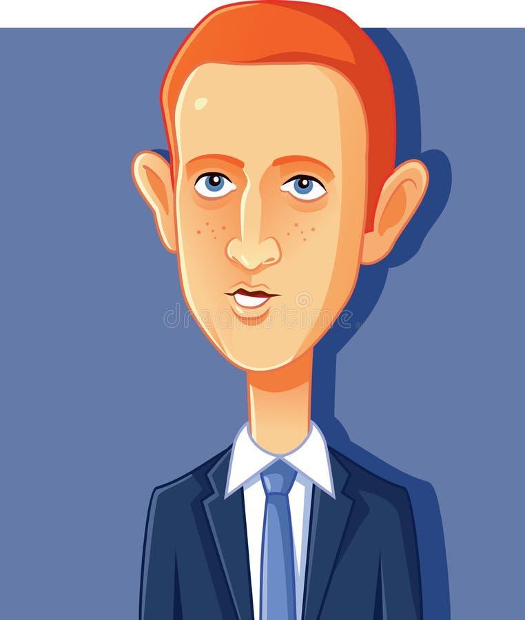 NY, usa, 7 2018 Październik, Mark Zuckerberg Wektorowa karykatura ilustracji